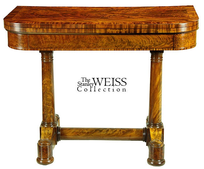 This card table is in the French restoration style which was in vogue during the 1820s in New York and found little expression in other urban areas. More than others American cities of the, New York was an international city and the French influence