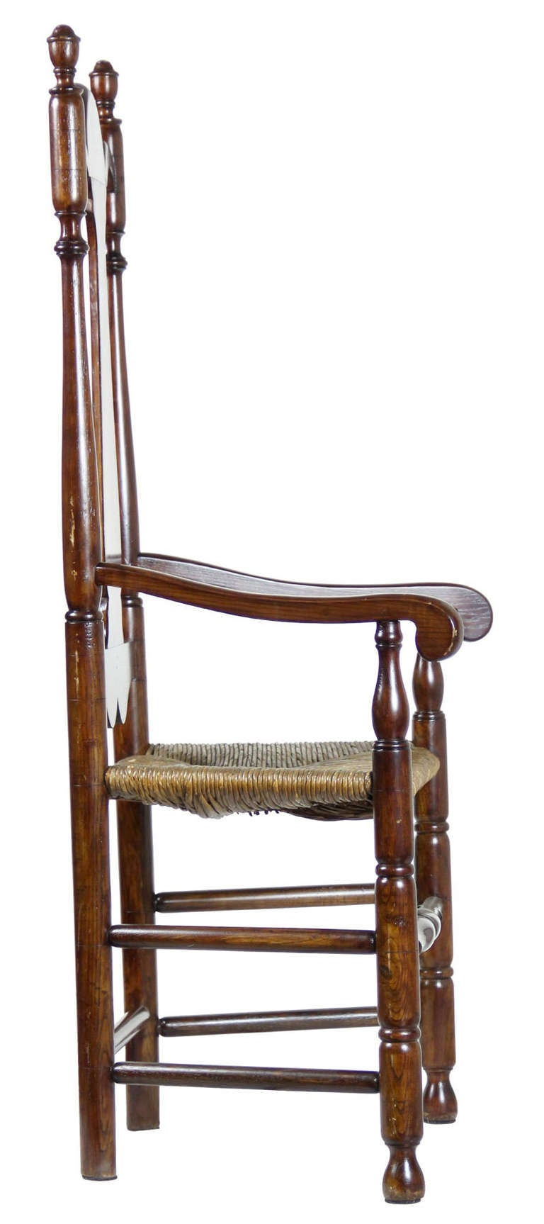 William and Mary Tall Back Cherry Armchair, CT, Possibly Colchester For Sale 1