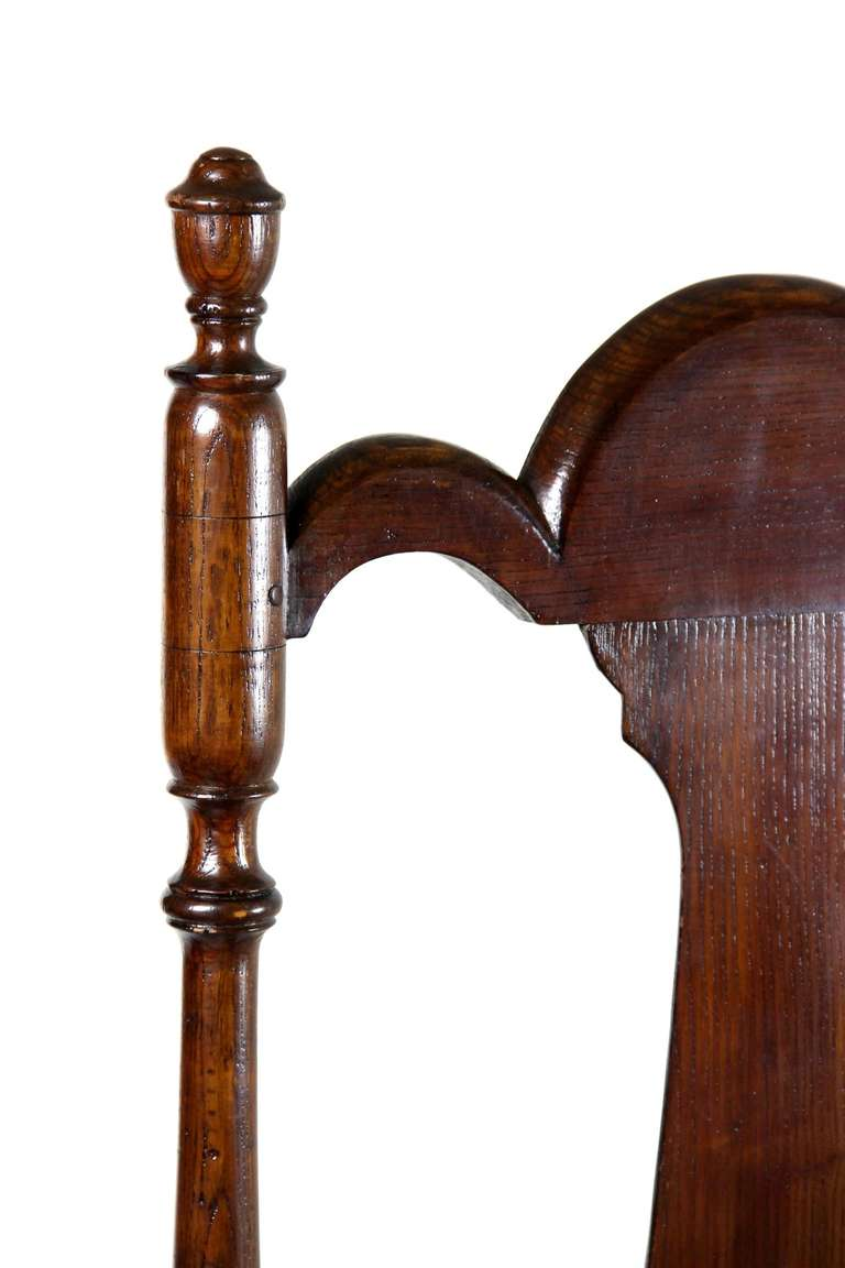 William and Mary Tall Back Cherry Armchair, CT, Possibly Colchester In Excellent Condition For Sale In Providence, RI