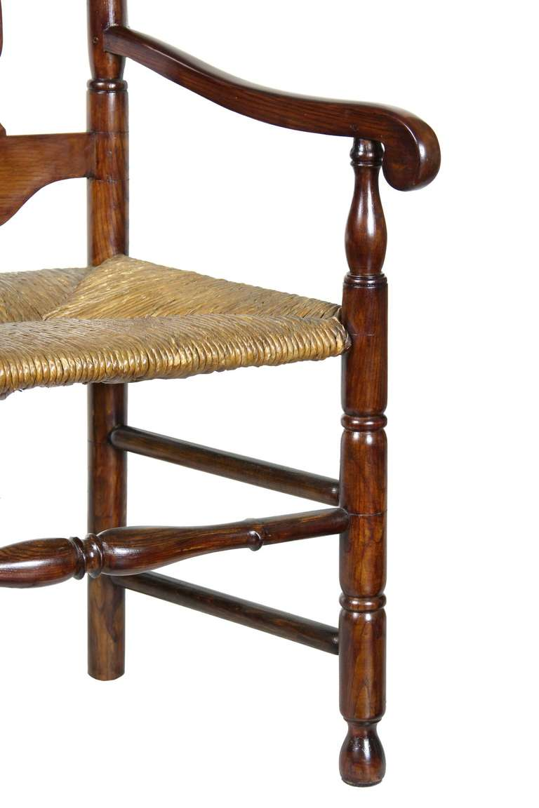 Mid-18th Century William and Mary Tall Back Cherry Armchair, CT, Possibly Colchester For Sale