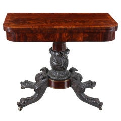 Carved Mahogany Card Table with Dolphins and Brass Inlay, Possibly NY