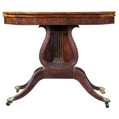 Carved Mahogany Card Table with Oversized Lyre, Philadelphia