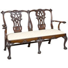 George III Style Carved Mahogany Settee with Ram's Head Arms
