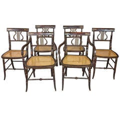 Set of Six Classical Rosewood and Gilt Painted Lyre Chairs, circa 1810, England