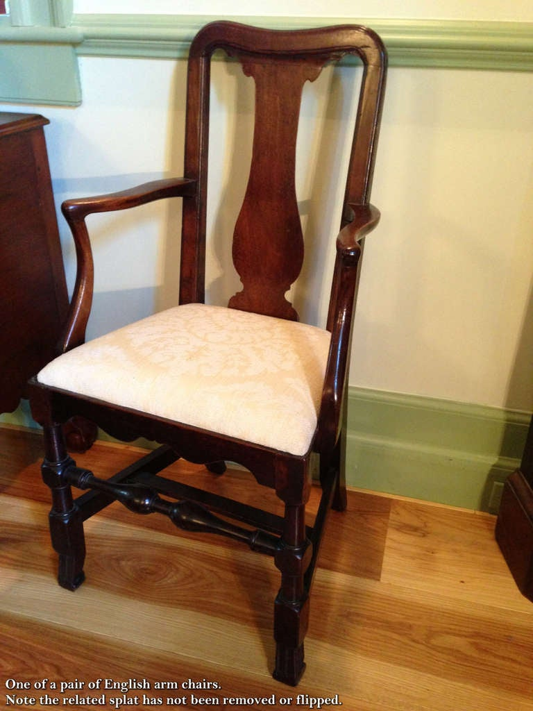 William and Mary Tall Back Cherry Armchair, CT, Possibly Colchester For Sale 2