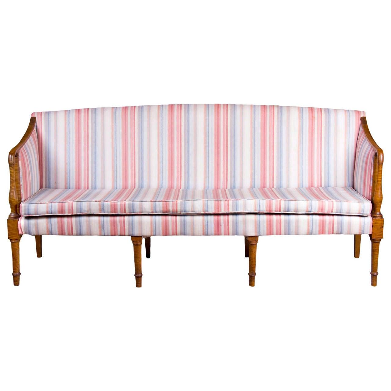 Federal Tiger Maple Sofa, New England, circa 1810