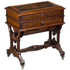 Renaissance Walnut Dressing Table Labeled George Hess, Patented, 1876, New York