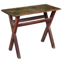 Pine and Maple Sawbuck Side Table, Scrubbed Top, Old Red Paint