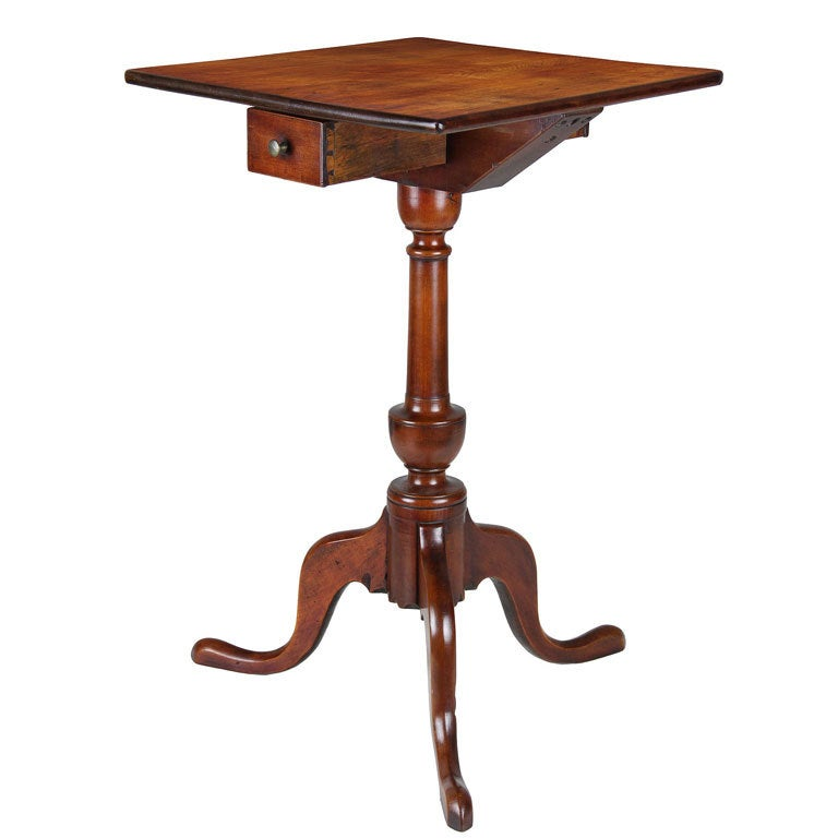Cherry Candle Stand with Drawer, CT, circa 1780