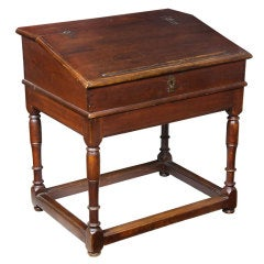 William & Mary Desk On Frame, Hard Pine, Probably Southern