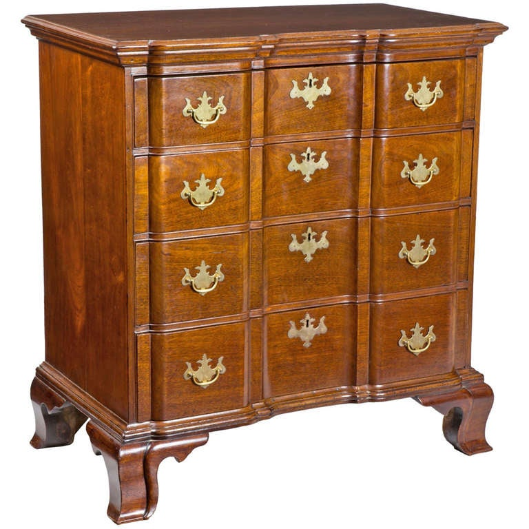 Chippendale mahogany block front bureau northampton or for Furniture northampton