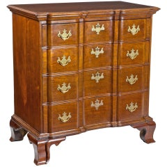 Chippendale Mahogany Block Front Bureau, Northampton or Smithfield, CT