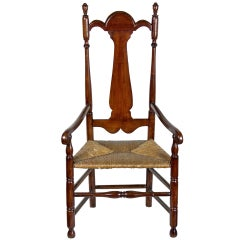 William and Mary Tall Back Cherry Armchair, CT, Possibly Colchester