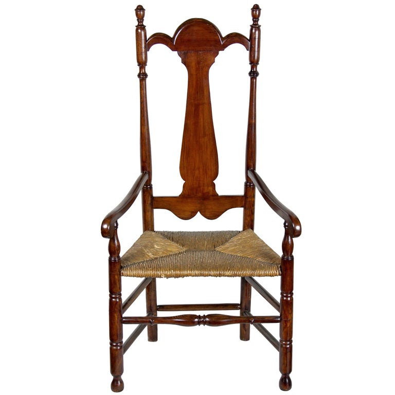 William and Mary Tall Back Cherry Armchair, CT, Possibly Colchester For Sale