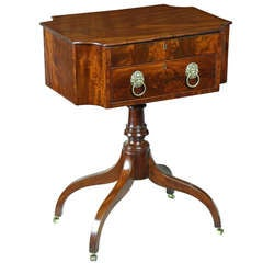 Fine Mahogany Work Table with Convex Corners and Lift Top, New York, circa 1810