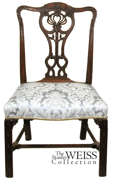Irish Set of Five Large Chippendale Side or Dining Room Chairs For Sale