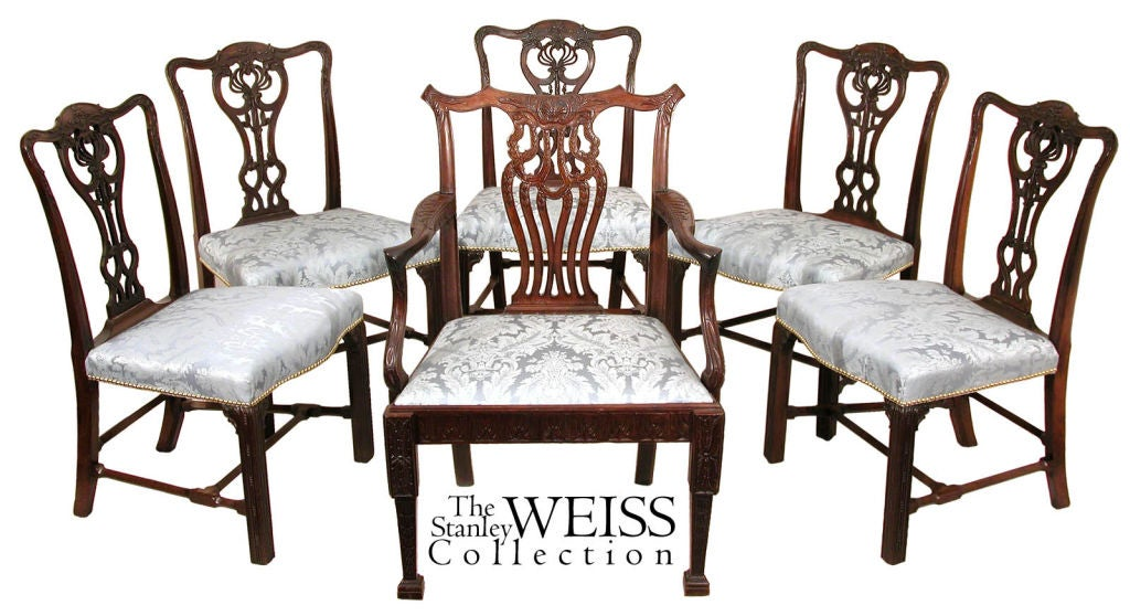 Set of Five Large Chippendale Side or Dining Room Chairs For Sale 2