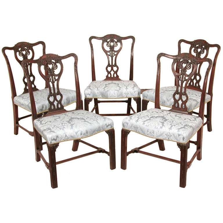 Set of Five Large Chippendale Side or Dining Room Chairs For Sale