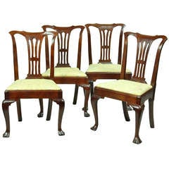 Set Of Four Mahogany Queen Anne Side Chairs Circa 1740 1760