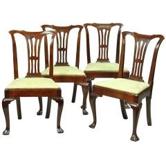 Set of Four Mahogany Queen Anne Side Chairs, circa 1740-1760