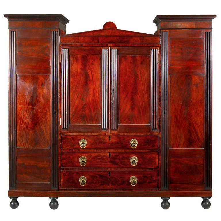 Carved and Reeded Mahogany Winged Wardrobe, Baltimore, circa 1830