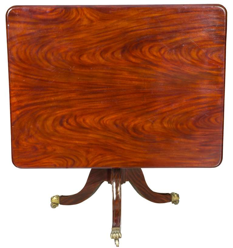 Striped Ribbon Mahogany Regency Pedestal Breakfast Table