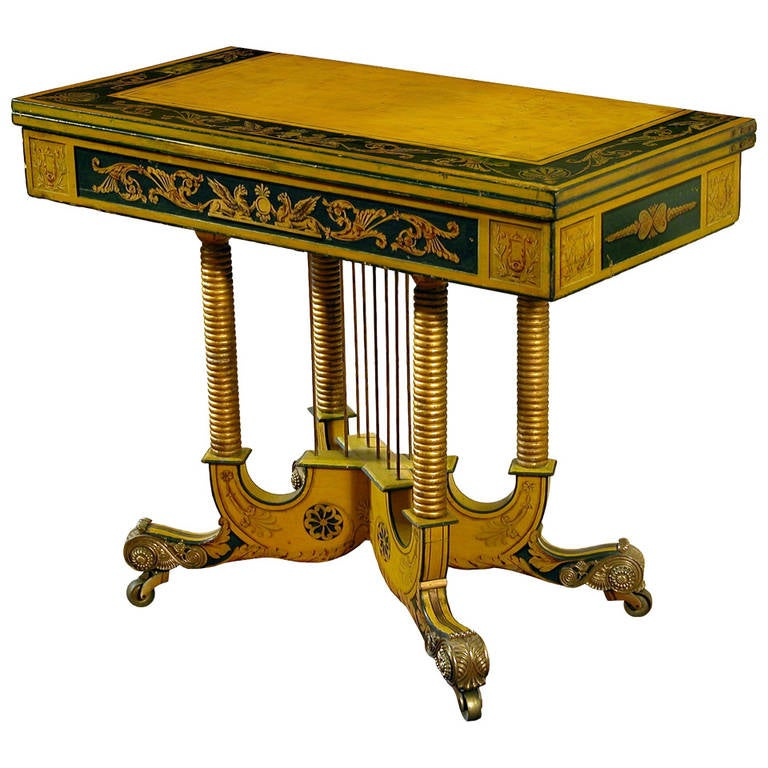 Classical Gilt And Paint Decorated Games Table, Maryland, Circa 1815 For  Sale