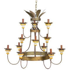Stepped Tin and Wood-Turned Twelve-Light Chandelier, 19th Century