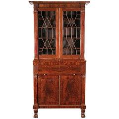 Fine Narrow Classical Secretaire Bookcase, New York