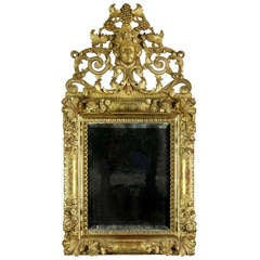 Magnificent Giltwood Figural Mirror, English, Early 18th Century