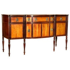 Flame Birch Federal Sheraton Bow-Front Sideboard, Boston