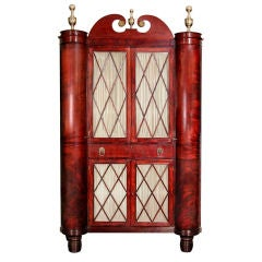 Classical Figured Mahogany Bookcase Cabinet, Baltimore, 1830-1840