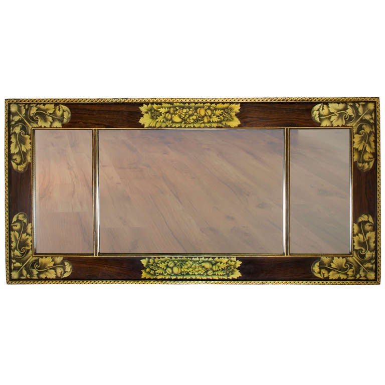 Painted and Stenciled Overmantel Mirror Attributed to William Meeks, circa 1825