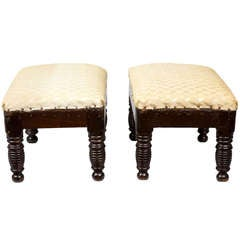 Pair of Diminutive Footstools with Ring Turnings, American, circa 1820-1840