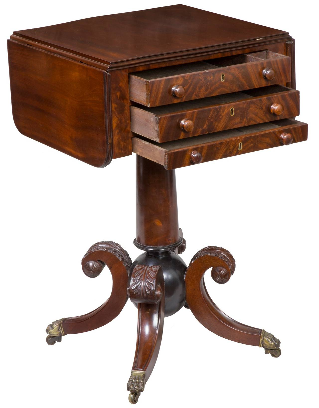At this time in Boston, the classical form was being produced with design forms unrelated to other furniture being made in Boston or Philadelphia where the high style furniture market was. The cannon ball is an exuberant example of this type of