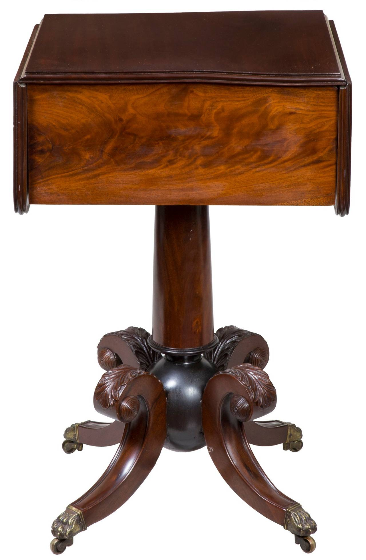 "American Classical Classical Mahogany Worktable with ""Cannon Ball"" Base, Boston or Salem For Sale"