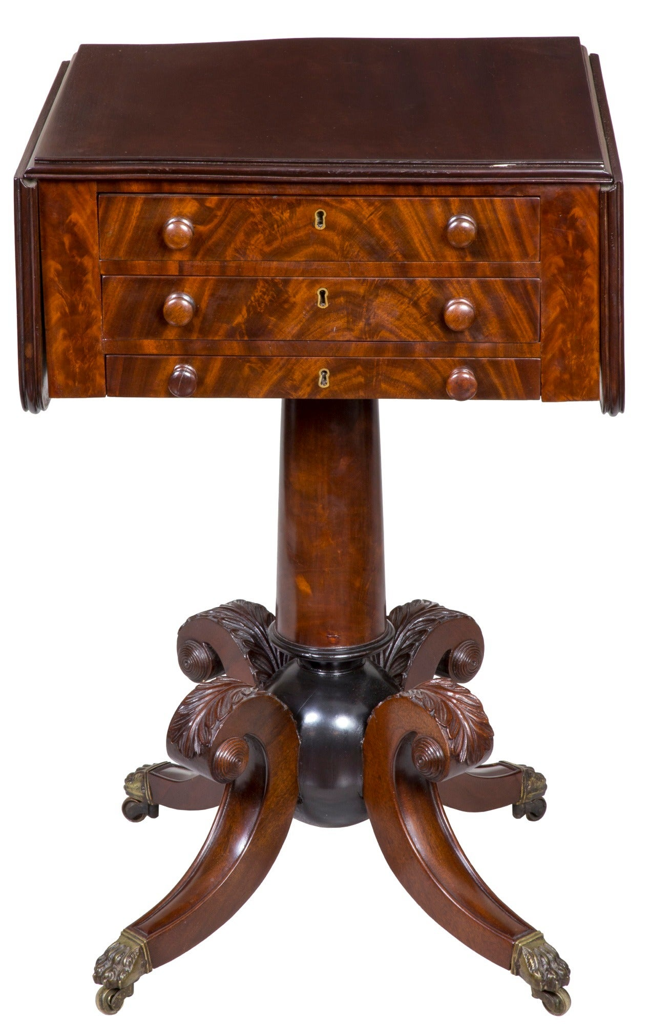 "American Classical Mahogany Worktable with ""Cannon Ball"" Base, Boston or Salem For Sale"