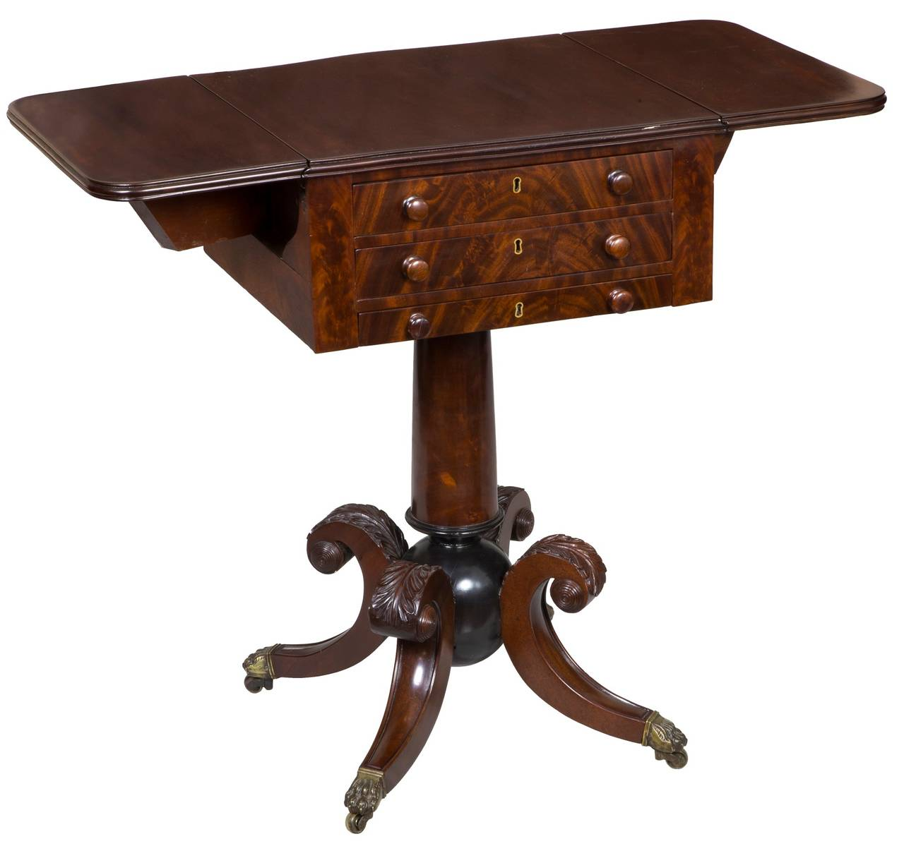 "19th Century Classical Mahogany Worktable with ""Cannon Ball"" Base, Boston or Salem For Sale"