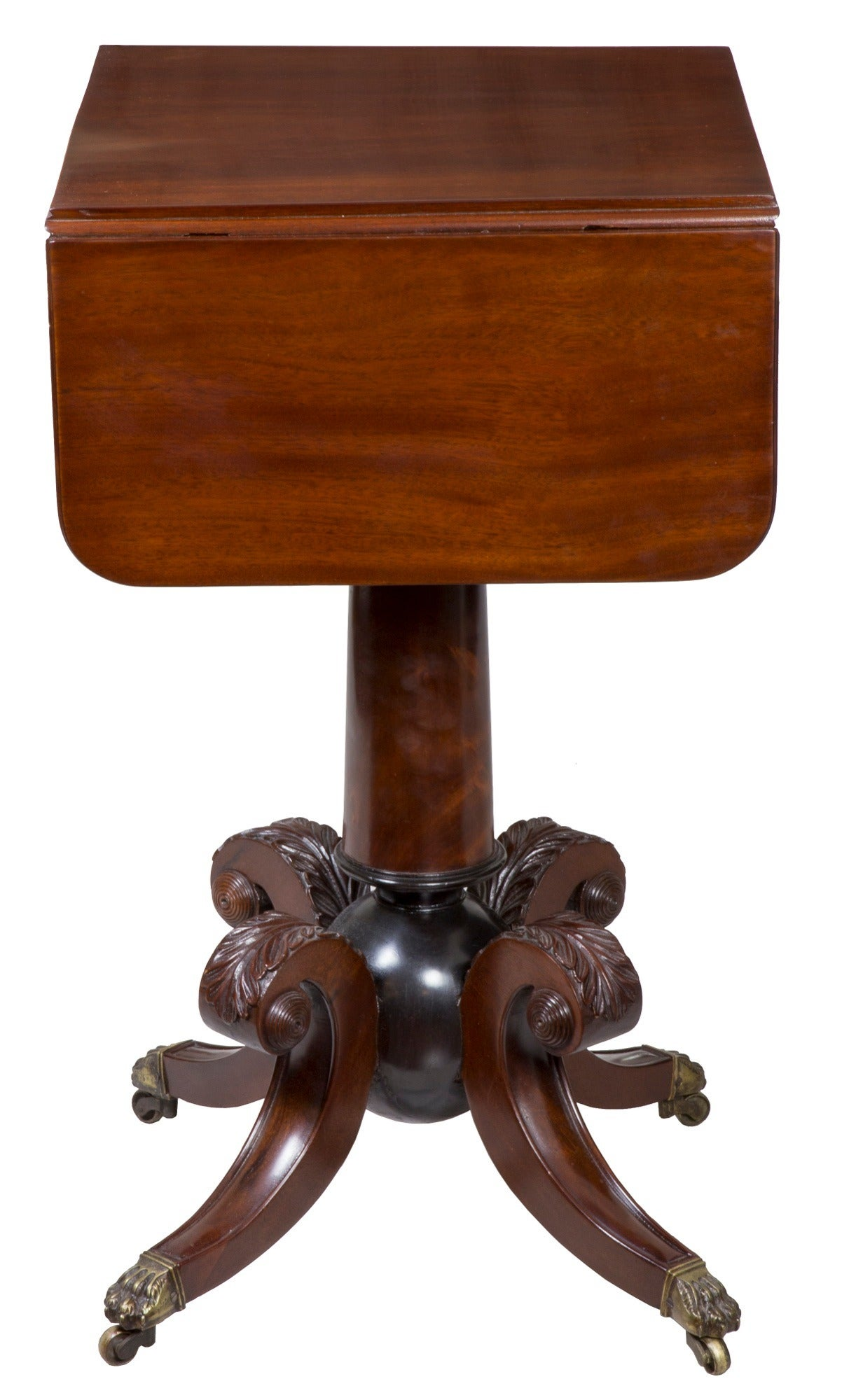 "Classical Mahogany Worktable with ""Cannon Ball"" Base, Boston or Salem For Sale 1"