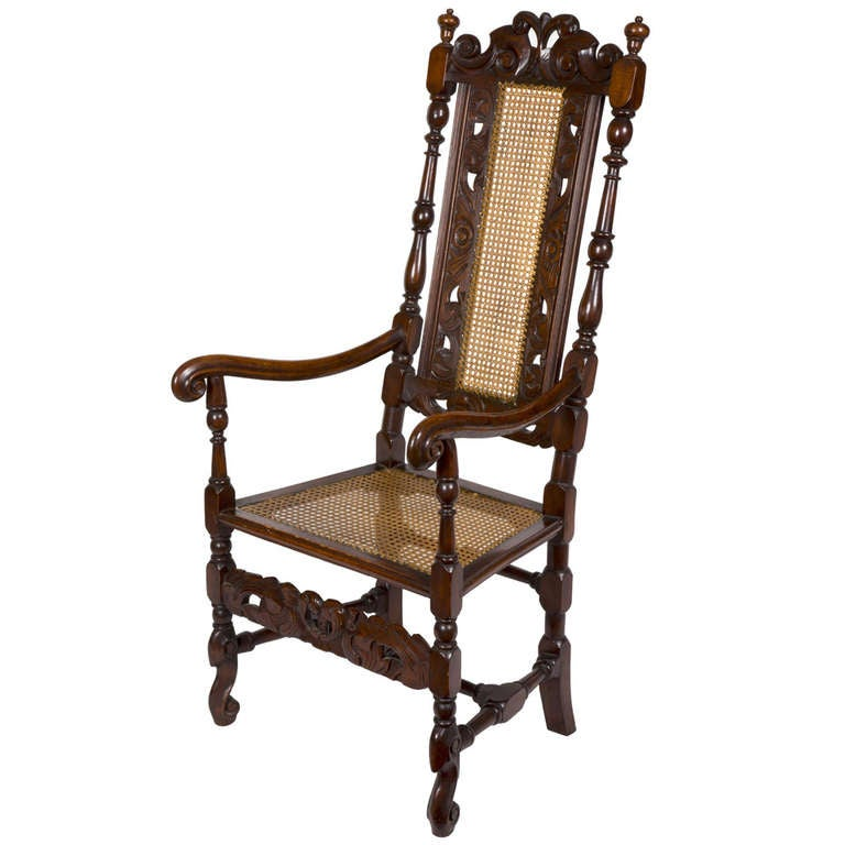 Lovely Carved Beech William U0026 Mary, Caned Armchair, Flemish Or English, 17th  Century 1