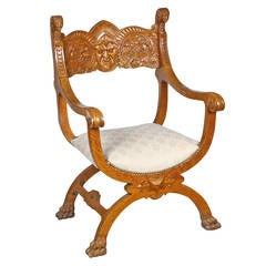 Oak Grecian Curule Chair, Probably Stickley-Brandt Chair Co, NY, circa 1890-1918