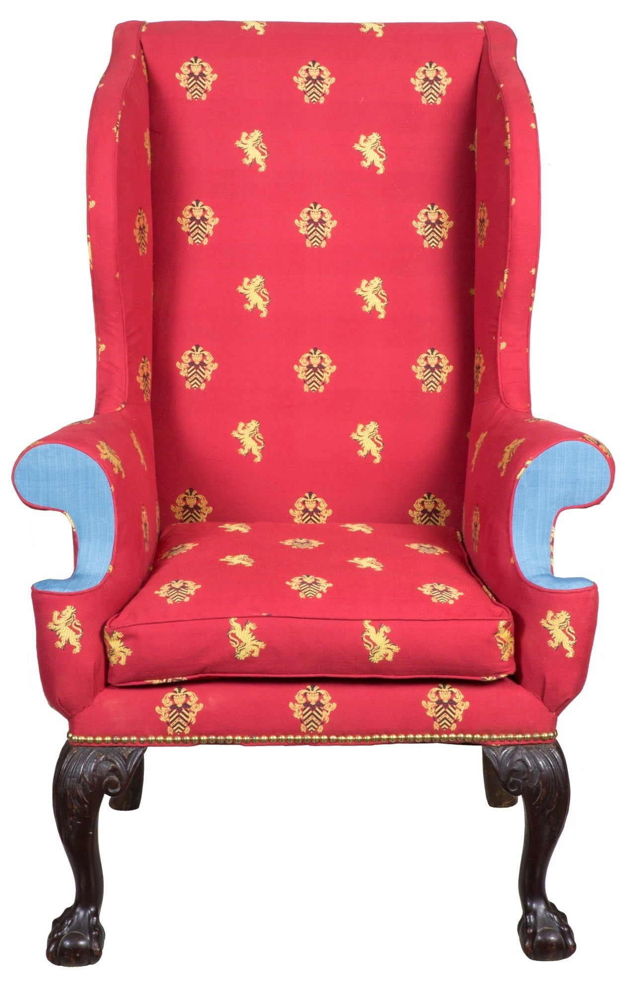 George III Wing Chair with Carved Claw and Ball Feet England