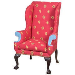 George III Wing Chair with Carved Claw and Ball Feet, England, circa 1730