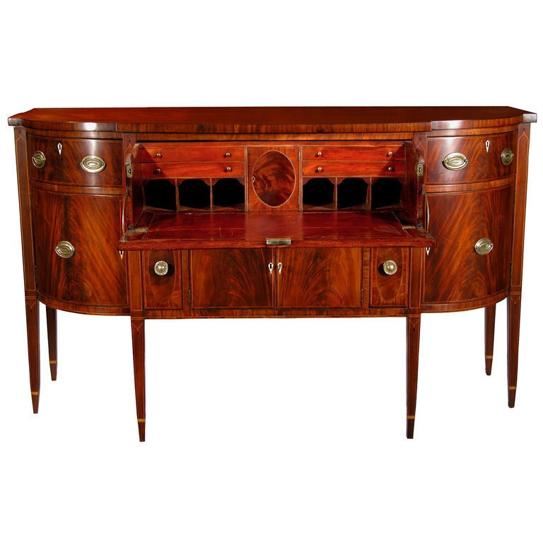 Inlaid Mahogany Federal Hepplewhite Sideboard With Desk Massachusetts For Sale At 1stdibs