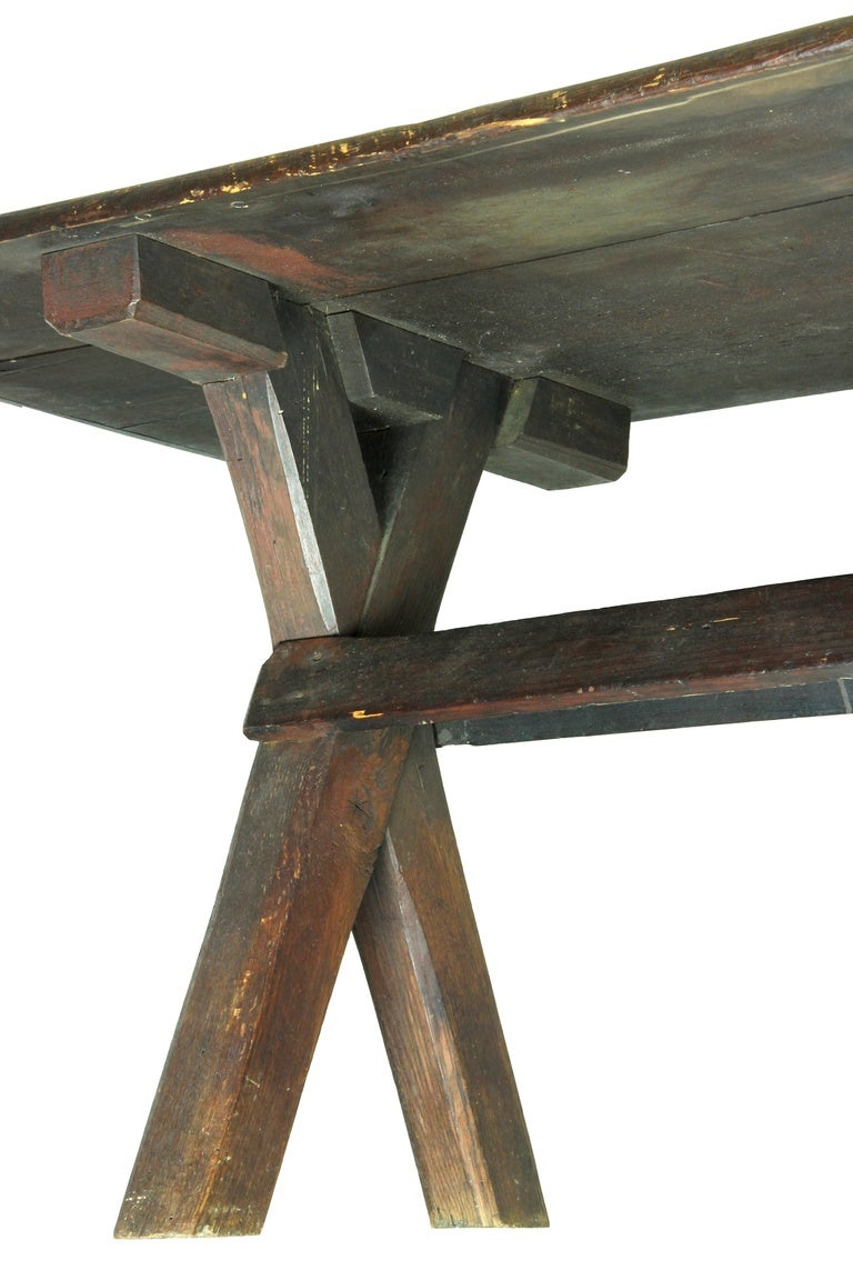 Rare Sawbuck Dining Table of Chestnut and Pine circa Early 18th Century image 6