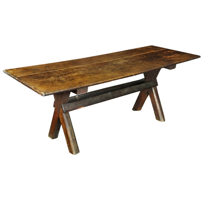 Rare Sawbuck Dining Table of Chestnut and Pine circa Early 18th Century