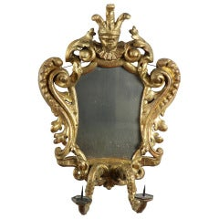 Carved Rococo Gilt Mirror with Jester, Continental, 17th-18th Century