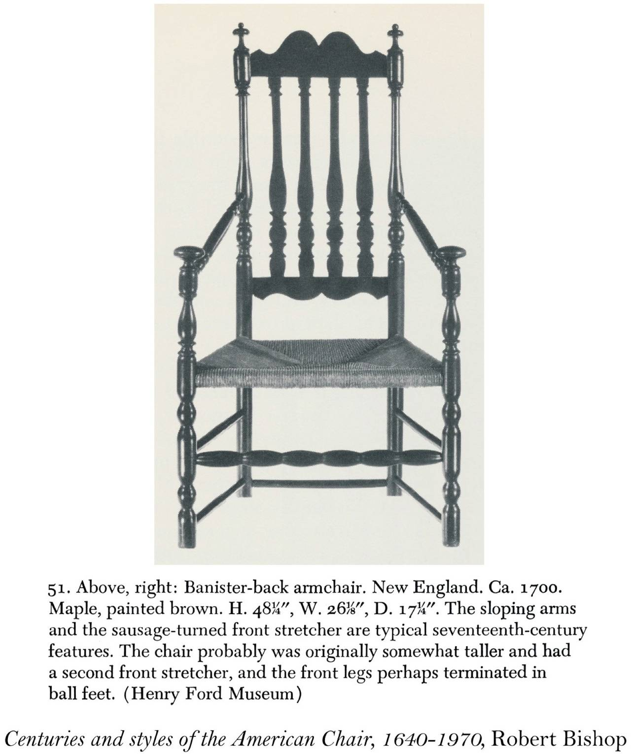 Maple William & Mary Bannister Back Armchair, Massachusetts, circa 1740-1750 For Sale 1