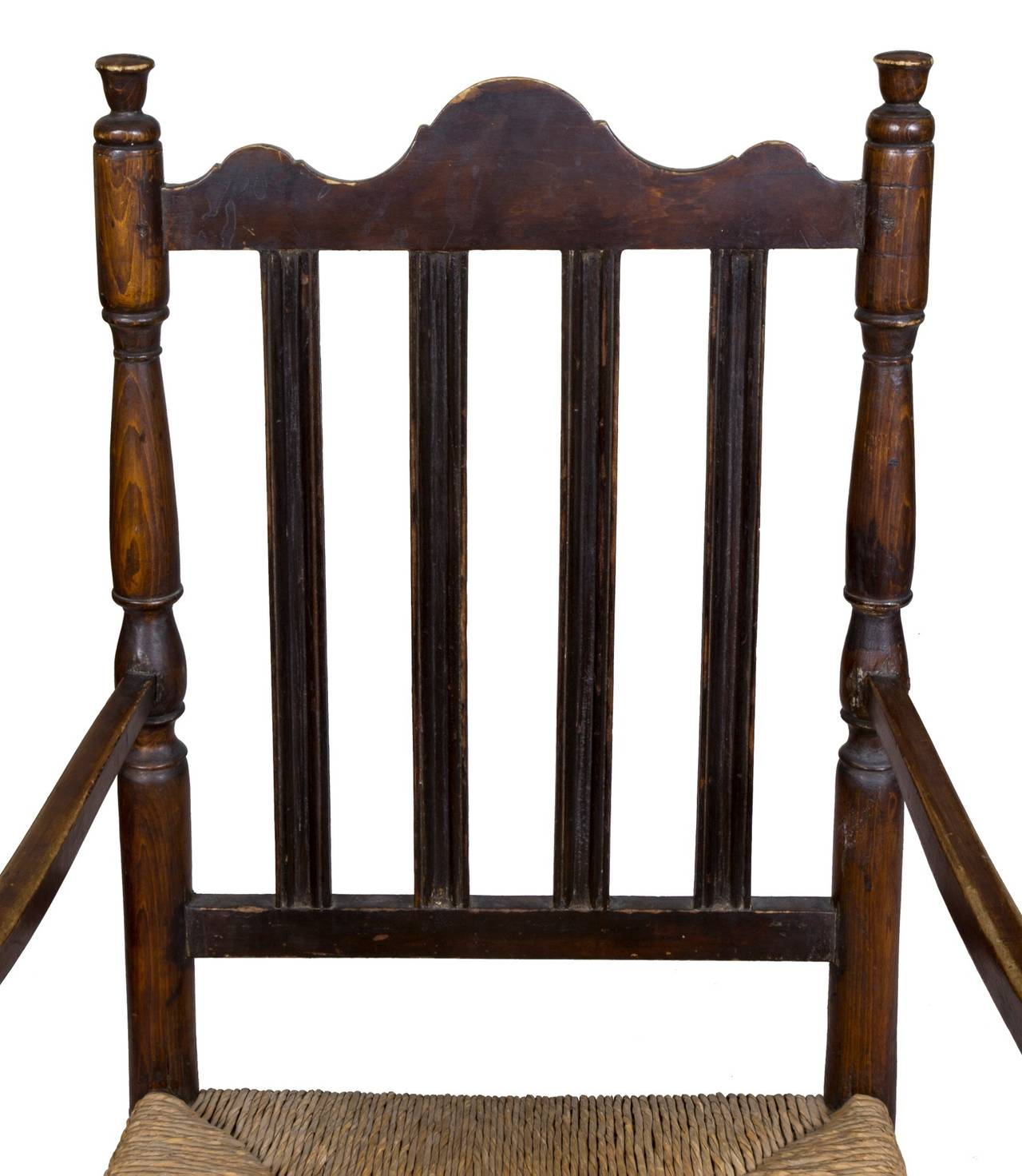 William and Mary Maple William & Mary Bannister Back Armchair, Massachusetts, circa 1740-1750 For Sale
