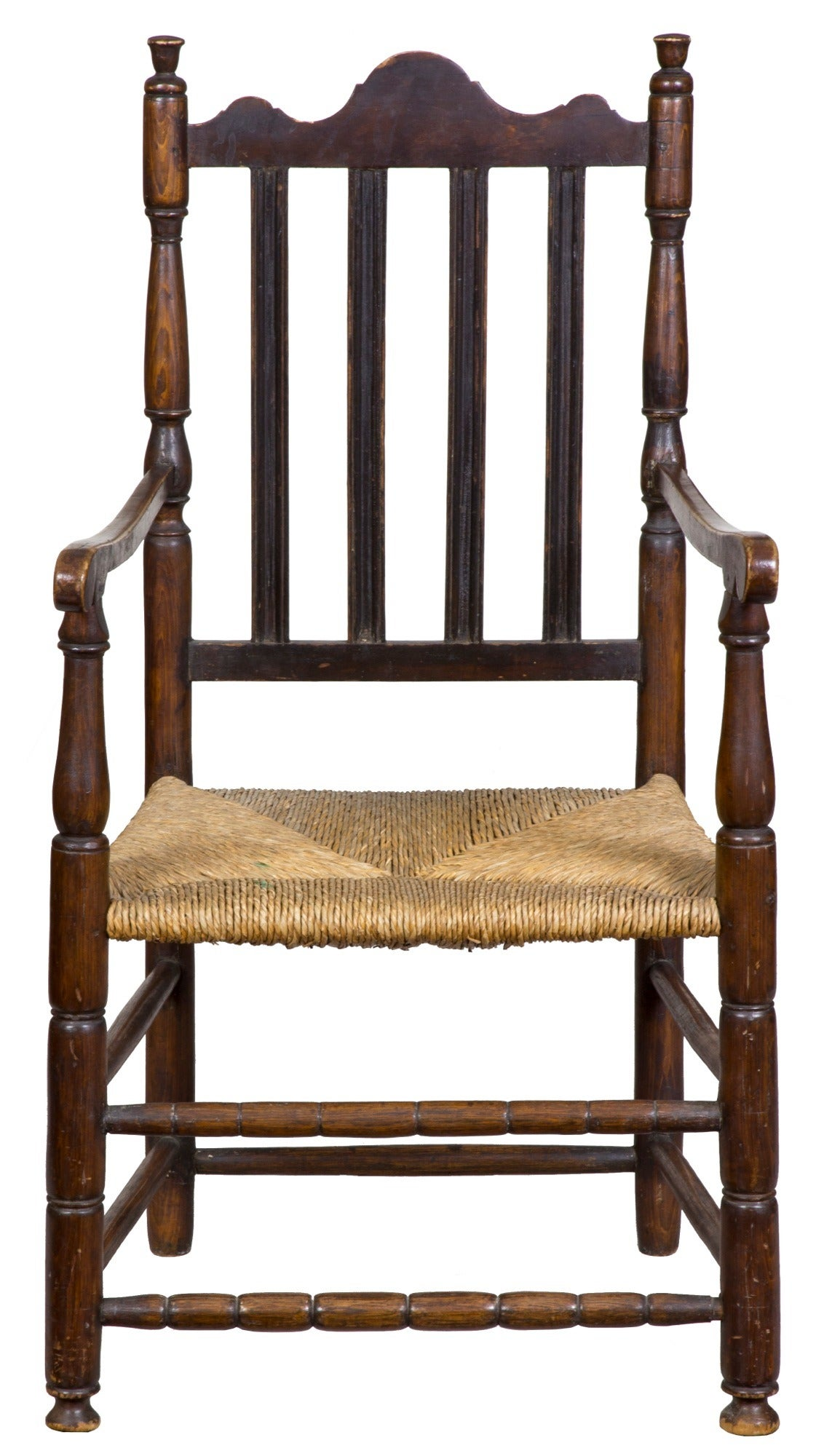 Maple William & Mary Bannister Back Armchair, Massachusetts, circa 1740-1750 In Excellent Condition For Sale In Providence, RI
